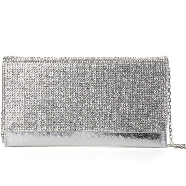 Silver Rhinestone Clutch ($23) ❤ liked on Polyvore featuring bags, handbags, clutches, pocket purse, silver clutches, rhinestone handbags, silver purse and chain strap purse