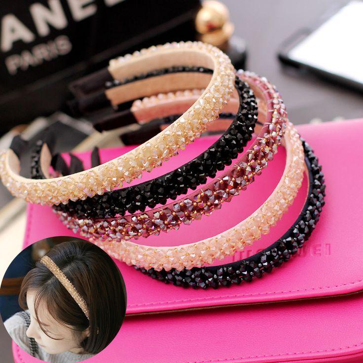 2017 nette Koreanisches Headwear Frauen Stirnbänder Kristall Strass Haarbänder Mädchen Haar-accessoires Turban Haarband Drop Shipping