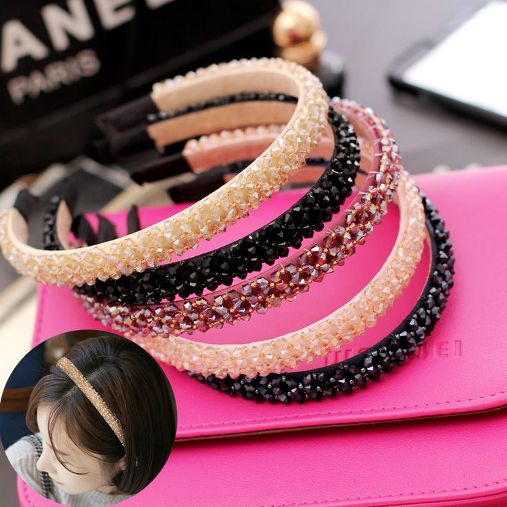 2017 Cute Korean Headwear Women Headbands Crystal Rhinestone Hairbands Girl Hair Accessories Turban Hair Hoop Drop Shipping