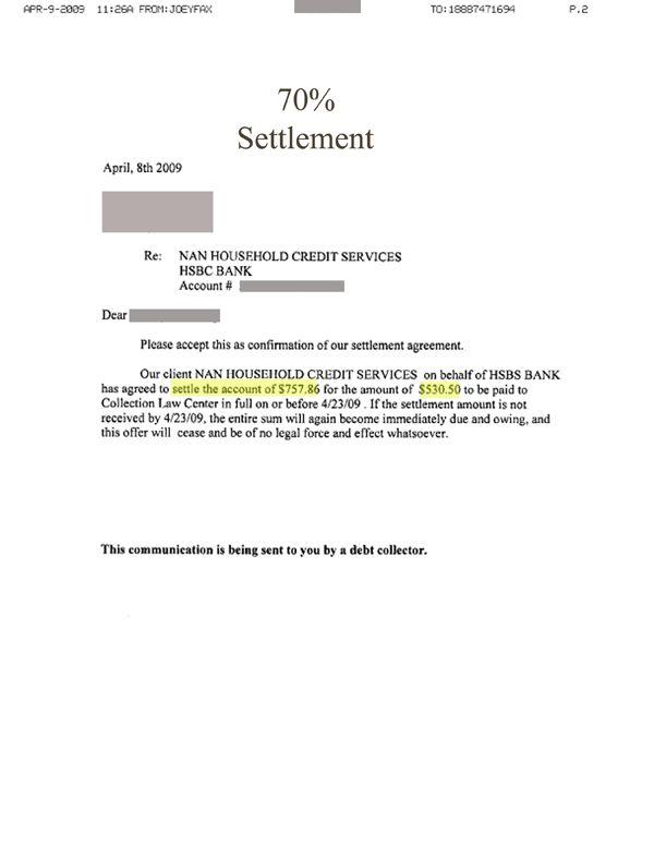 Lump Sum Debt Settlement Letter Sample