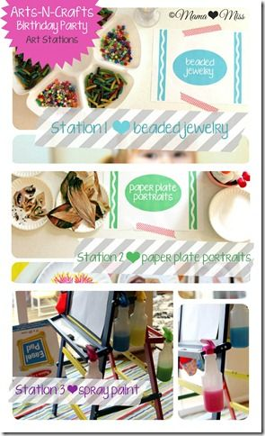 Great idea for a kids' party! 4 simple arts and crafts stations.