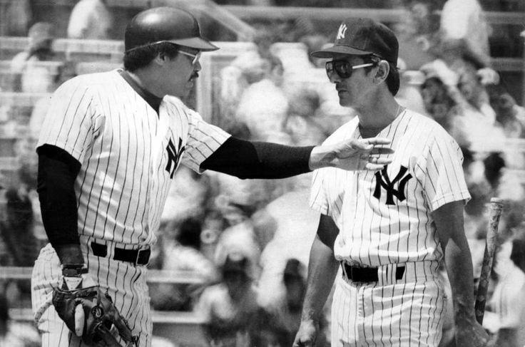 Reggie Jackson and Billy Martin at Yankee Stadium July 24 1977