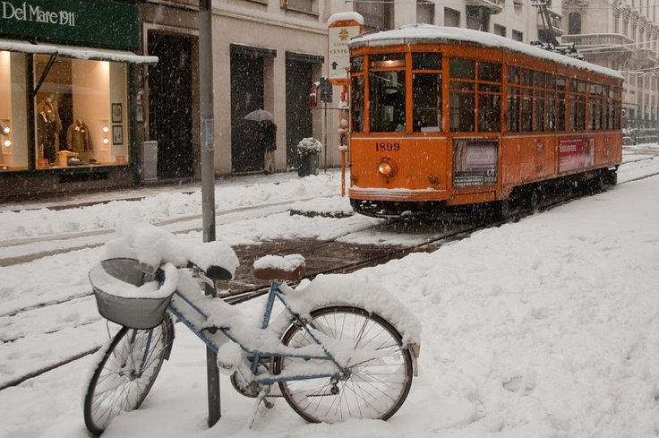 #snow #tram #milano
