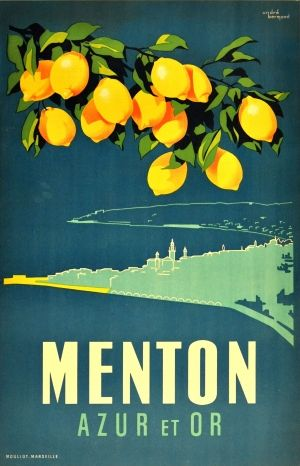 Menton Azur et Or, 1950s - original vintage poster by Andre Bermond listed on AntikBar.co.uk