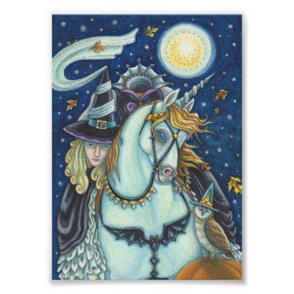 SLEEPY HOLLOW WITCH UNICORN & OWL HALLOWEEN POSTER - Halloween happyhalloween festival party holiday
