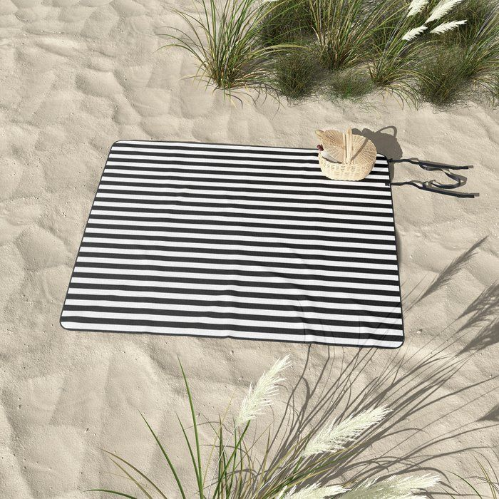 Buy Black And White Striped Picnic Blanket By Bitart On Society6 Foldable Outdoor Beach Camp Blanket Bitart Picnic Blanket Stripes Design Camping Blanket