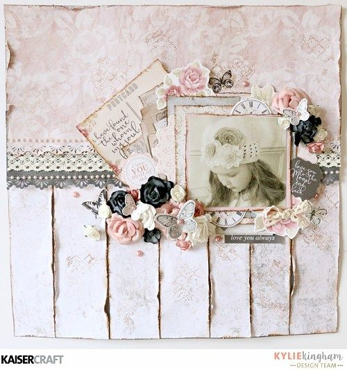 """Postcards 1"" Layout - by Kylie Kingham Dessign Team member for Kaisercraft using their 'PS I Love You' collection (December 2016) saved from kaisercraft.com.au/blog - Wendy Schultz - Scrapbook Layouts."
