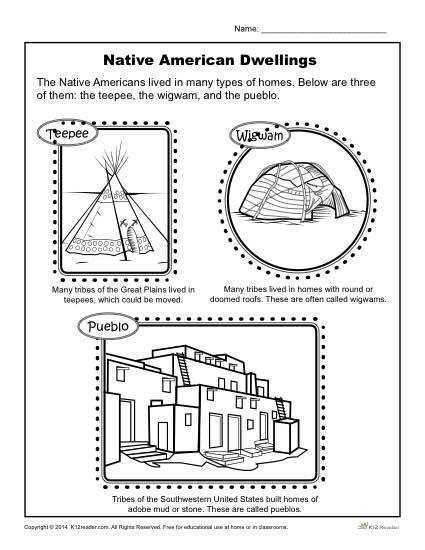 Native American Dwellings - Reading Worksheets, Spelling, Grammar, Comprehension, Lesson Plans