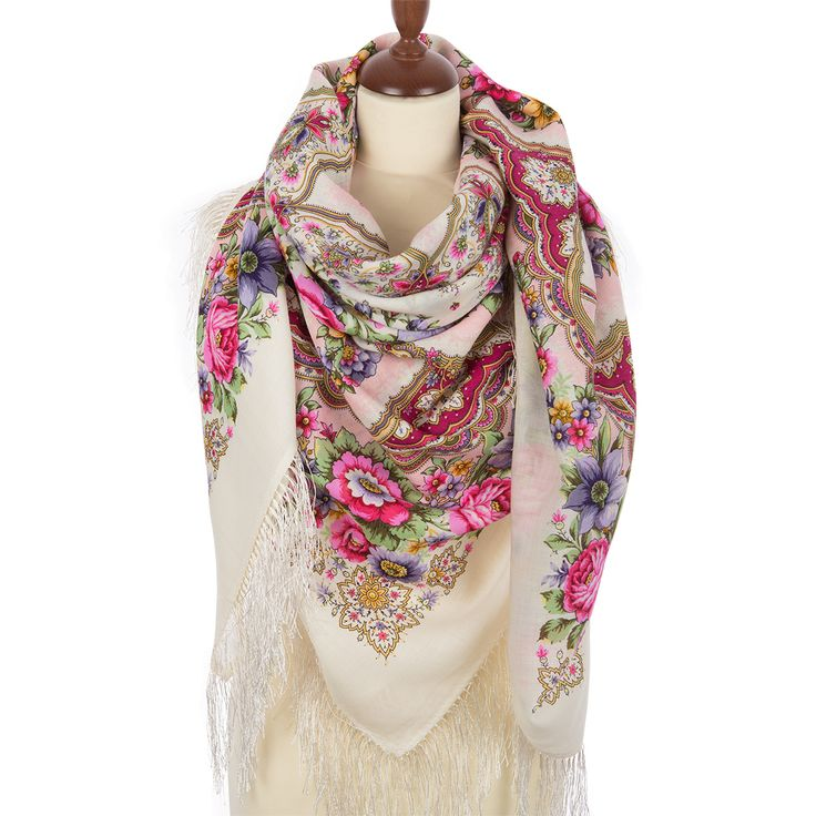 Russian shawls and scarves store. Russian Pavlovo Posad shawl Snowflakes and flowers 1676-3. Traditional Russian scarves from Pavlovo Posad. FREE SHIPPING