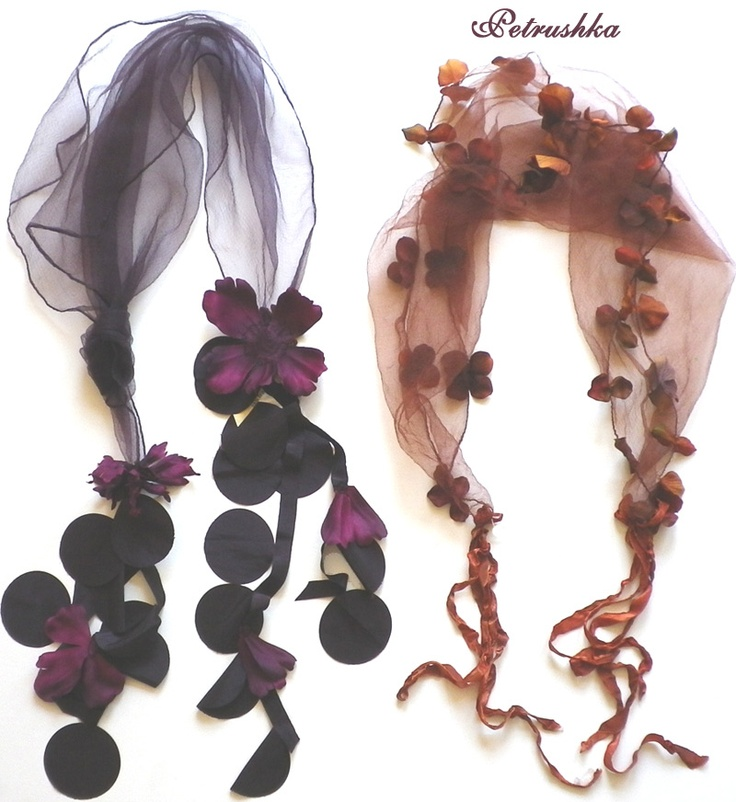 beautiful scarves..... like this flower-edged rust one or the aubergine with the elaborate flower ties - whether worn on head or around neck - in time for Fall and Winter: Ray Ban