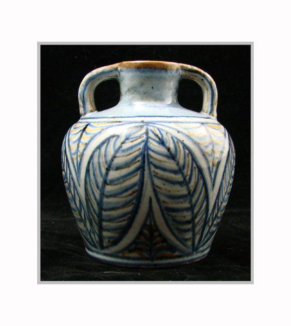 HJORTH Swedish Studio Pottery VASE - Midcentury Modern blue and green w/ leaf design