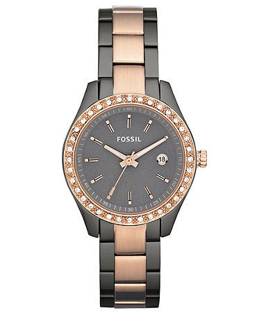 I WANT THIS!   - Fossil Watch, Women's Rose Gold and Smoke Ion Plated Stainless Steel Bracelet