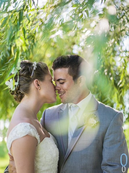 Alone under the willow tree, couples wedding portrait. Point Edward, Ontario