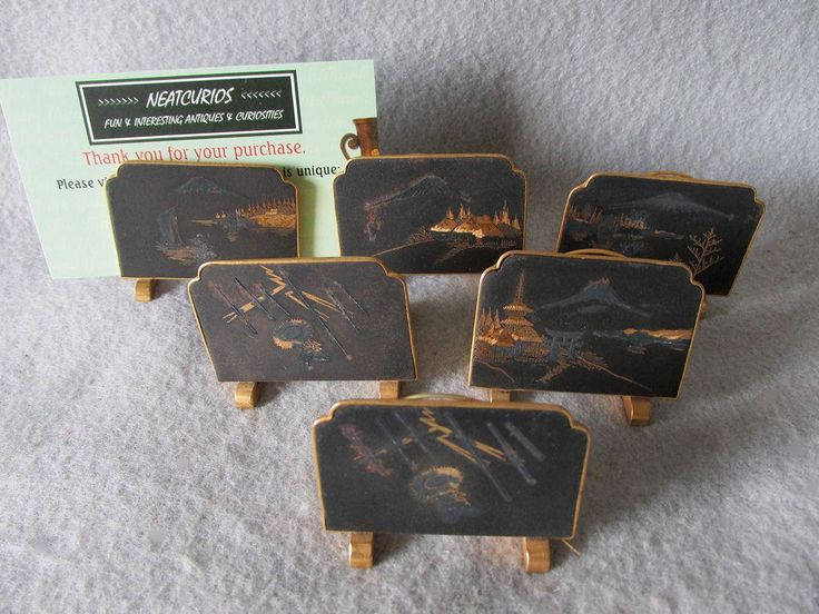 6 Asian Mixed Metal Place Card Holders, Art Deco Dining Room Accessory