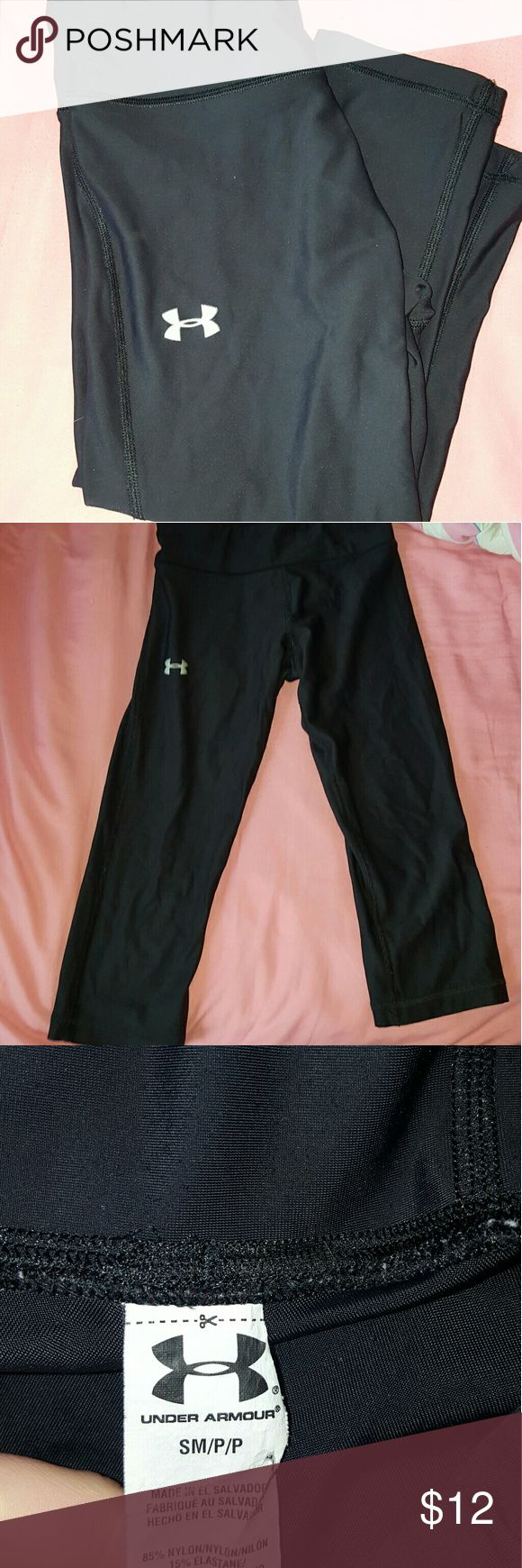 Under armour size small cropped capris Small petite womens under armour black cropped pants. Under Armour Pants