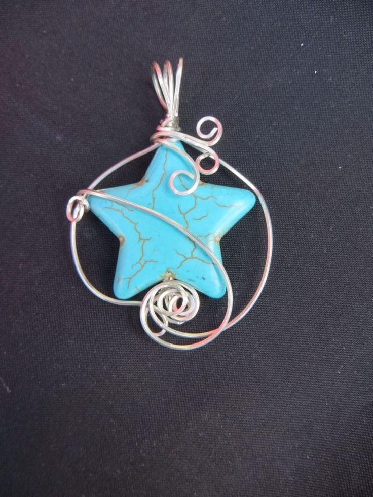 TURQUOISE WIRE WRAP PENDANT IN STERLING SILVER DESIGNER #Handmade #Pendant