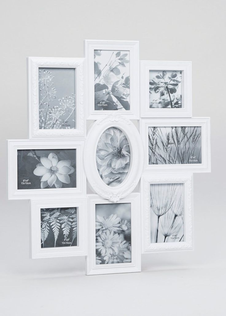 Multi Aperture frame with 9 photo apps and ornate design. Dimensions: 55cm x 51cm x 3cm. Holds photos: 15cm x 10cm (6inches x 4inches) & 10cm x 10cm...