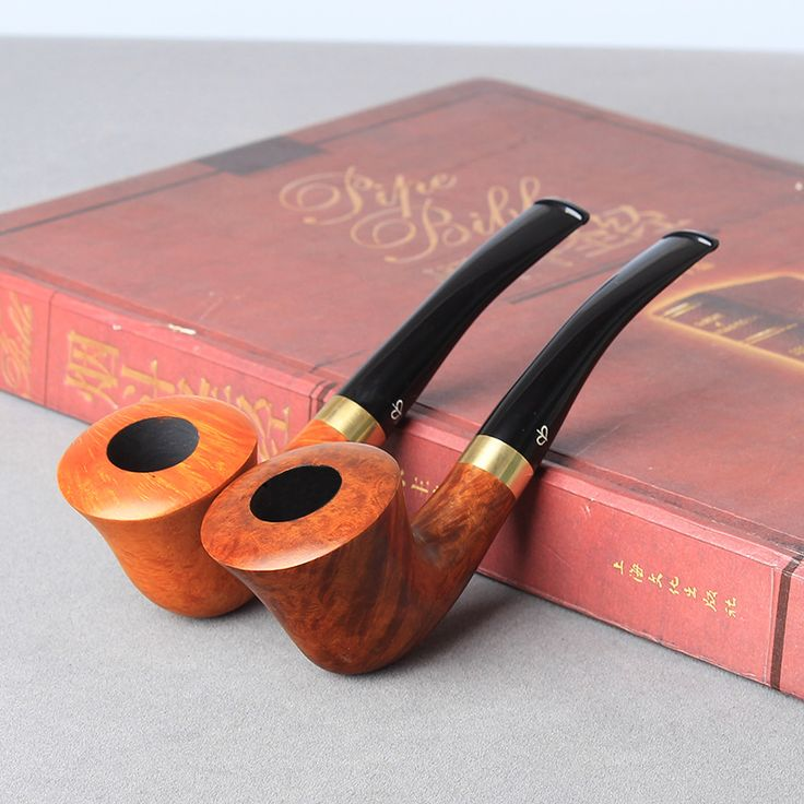 2 Colors briar wooden tobacco pipe straight type smoking tobacco pipe Heather wooden pipe 3mm filter and gift set aa0024