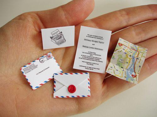 Tiny airmail wedding invites. Pretty freaking cute.