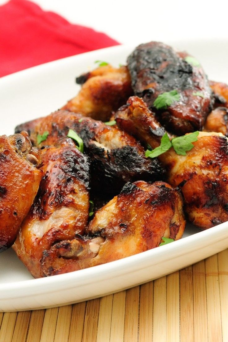 Recipe including course(s): Entrée; and ingredients: chicken wing, garlic, honey, ketchup, olive oil, pepper, salt, soy sauce