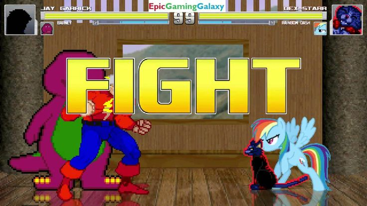 Barney The Dinosaur And Jay Garrick The Flash VS Dex-Starr The Cat & Rainbow Dash In A MUGEN Match This video showcases Gameplay of Barney The Dinosaur From The Barney & Friends Series And Jay Garrick The Flash VS Dex-Starr The Cat And Rainbow Dash From The My Little Pony Friendship Is Magic Series In A MUGEN Match / Battle / Fight
