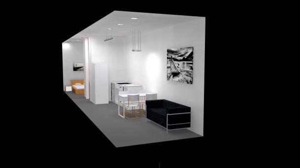 casa contenedor dentro 3d