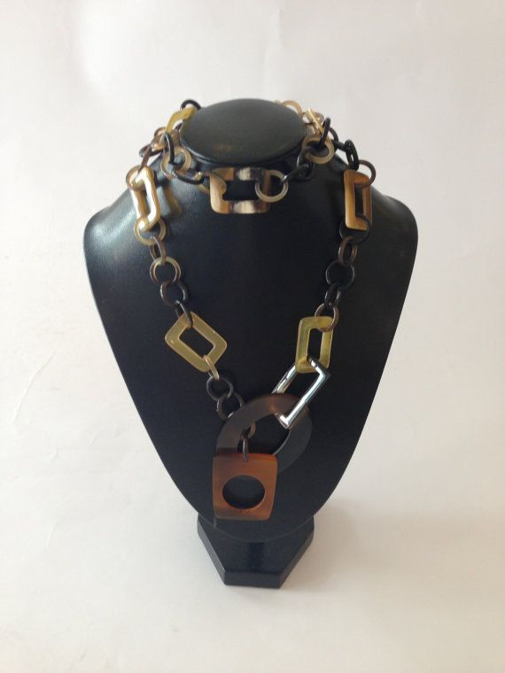 Horn Jewelry Chain Necklace Handmade dc00029 by lotussilk on Etsy, $38.00