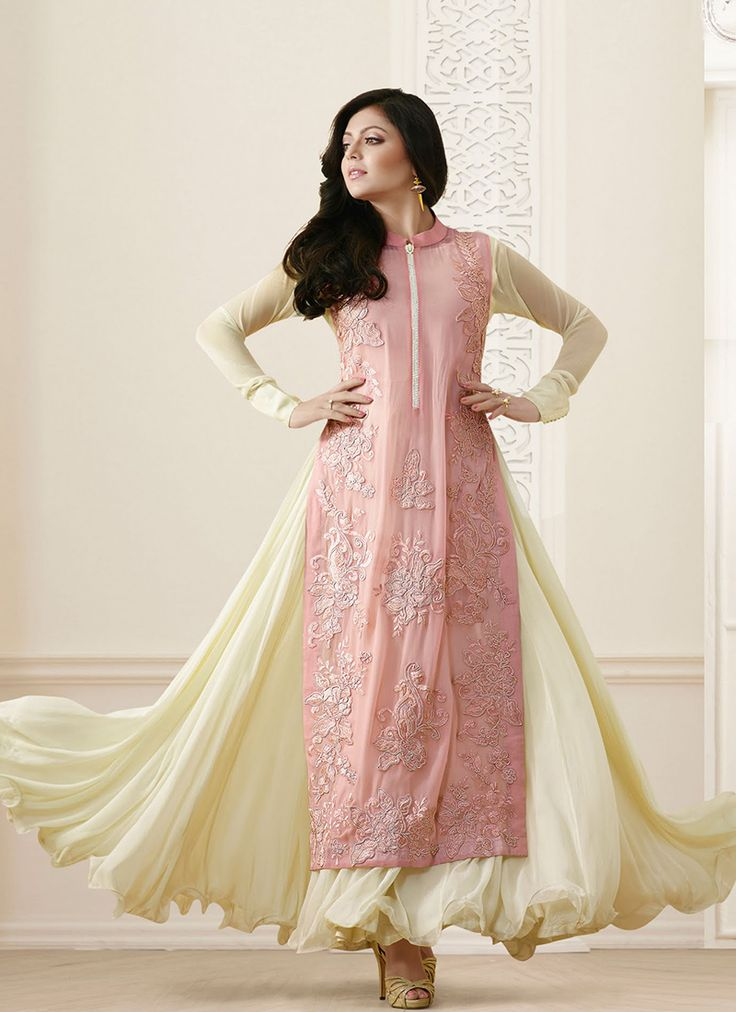 Cream Bulk Madhubala Designer Suit With Georgette Fabric