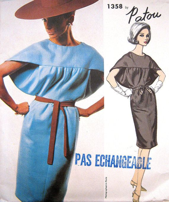 RARE 1960s Patou Vogue Paris Original 1358 Dress by PatternGal, $95.001358 Patou, 1960S Patou, Vogue Paris, Patou Vogue, 1960S Vogue, Rare 1960S, Paris Originals, Patou Pattern, Originals 1358