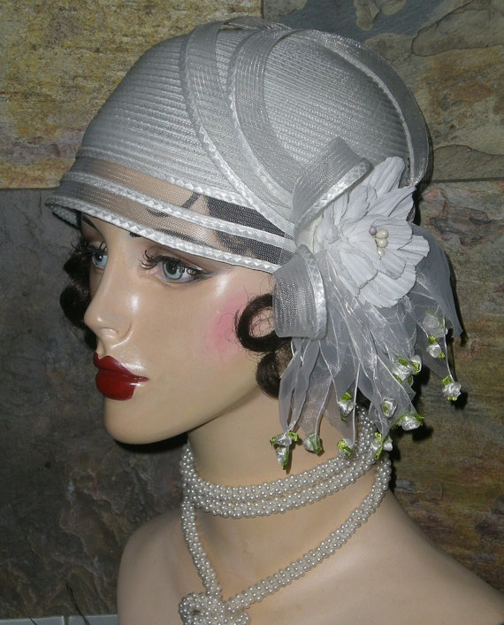 Roaring s flapper inspired cloche wedding hat by