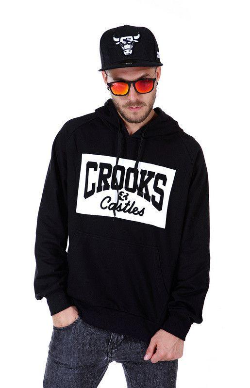 Men Hip Hop Printed Hoodies, Crooks and Castles, Red, Black