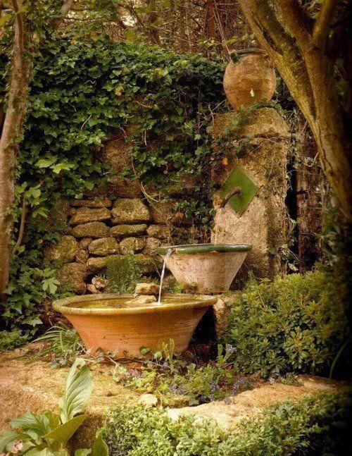 Garden Well, Camargue, France: Gardens Ideas, Waterfountain, Water Fountain, Secret Gardens, Stones Wall, Gardens Fountain, Gardens Water Features, Garden Fountains, French Antiques