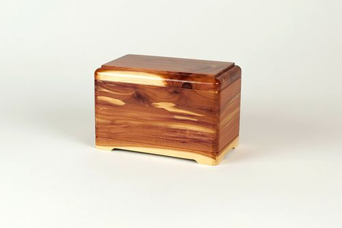 Beautiful and affordable cedar wood pet cremation urn, made in the USA from select Aromatic Tennessee Cedar wood.