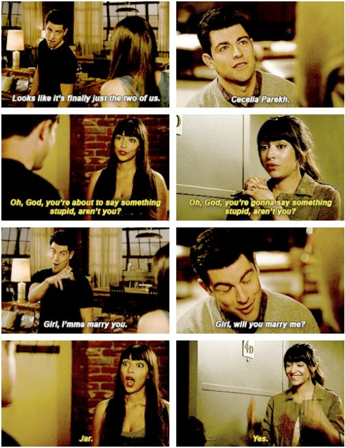 "Cece and Schmidt, New Girl  ""I bet he said something chauvinistic that comes from insecurity but ultimately leads to something endearing."""