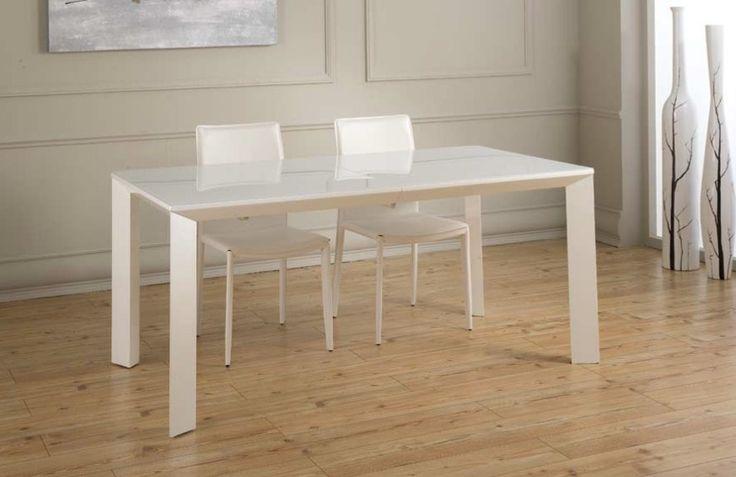 Tavolo PRISMA  in legno laccato bianco allungabile 170/220