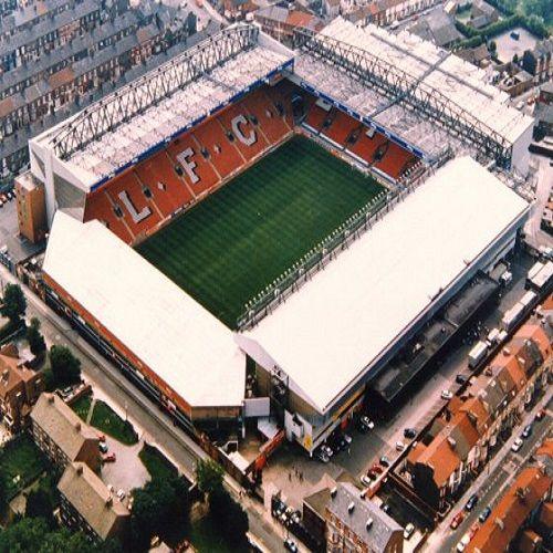 sky view of Liverpool's stadium anfield