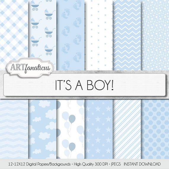 Baby boy paper IT'S A BOY white and blue by Artfanaticus on Etsy  My backgrounds, textures, digital paper and clip art can be used for just about any project. Add some additional artistic style to your photo albums, photography projects, photographs, scrap booking, weddings, invitations, greeting cards, gift wrap, labels, stickers, tags, signs, business cards, websites, blogs, parties, events, jewelry & more.  For more digital papers, please visit Artfanaticus at…