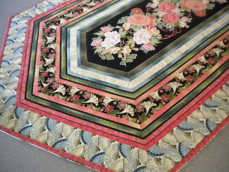 """Quilted Table Runner, Asian Quilt, floral fabric, Floral quilted table topper, Asian table runner, oriental quilt fabric, 15"""" x 38"""", fans by SewEverAfter on Etsy"""