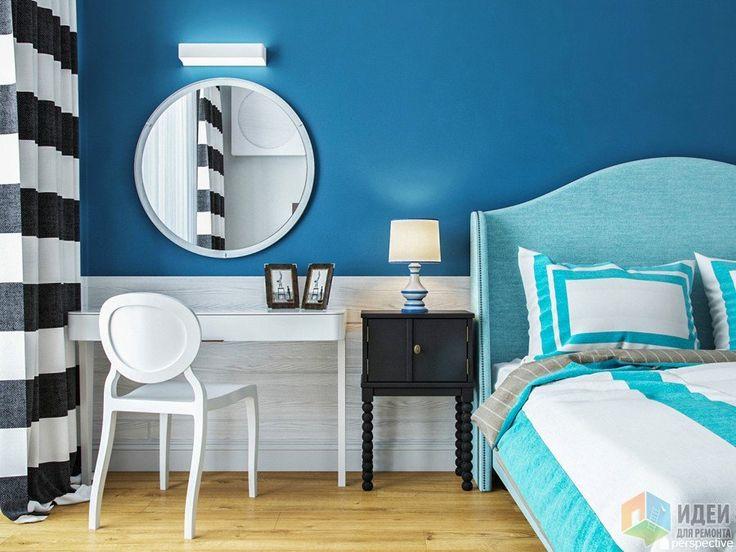 Интерьер спальни в синих тонах, туалетный столик в спальне