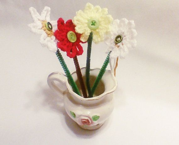 Crochet colorful daisy flower bouquet/ hand by HandmadeTrend, $12.00