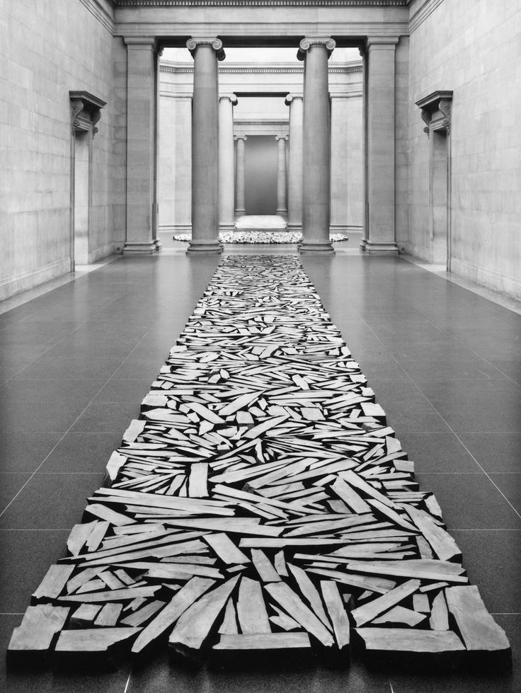 Art by Richard Long: a straight line (culture) of wood (nature)