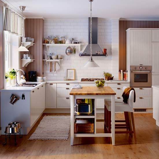Off White L Shaped Kitchen Design With Island: Small Ikea Island Breakfast Bar Ideas