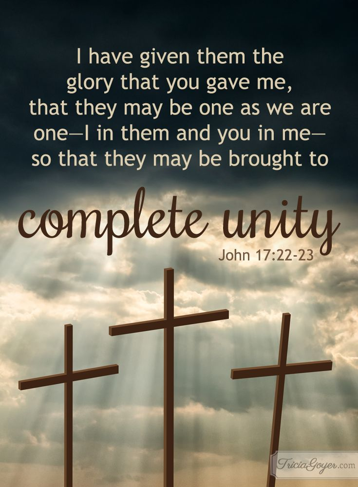 Complete unity in Christ. John 17:20-23