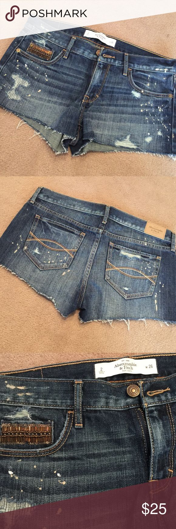 ABERCROMBIE Jean Shorts Size 2 Jean shorts, embellished side front pocket. Splatter design on front and back. Worn one time on vacation in DisneyWorld. Abercrombie & Fitch Shorts Jean Shorts