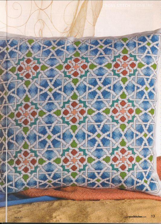 Cross-stitch Geometric Patterned Pillow, part 1... Gallery.ru / Фото #2 - New Stitches 172 - rua