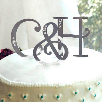 Swarovski Accent Letter Cake Toppers