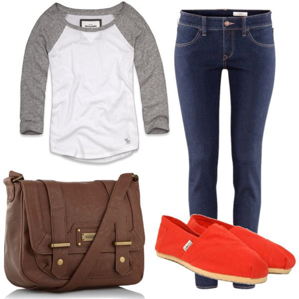 Spring - comfy casual, perfect school outfit. Baseball tee and jeans, id go with more nuetral toms