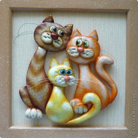 Картина панно рисунок День семьи Лепка мини МК кошки Тесто соленое фото 1
