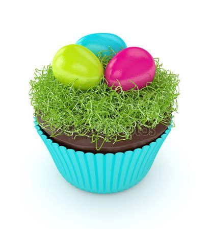 3d render of Easter muffin with grass and eggs — Stock Photo © ayo888 #141498350