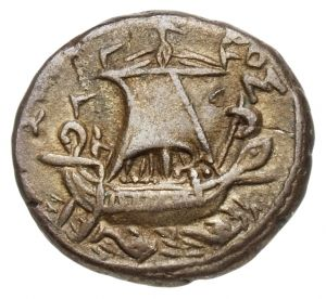 Tetradracma - argento - (66-67 d.C. imp. Nerone) zecca di Alessandria d'Egitto - nave a vela spiegata vs.dx. - Münzkabinett Berlin